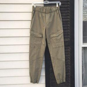 yfb khaki cargo pants joggers elastic hem green